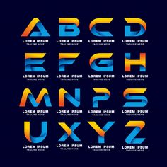 Logo Discover Alphabet Letter Logo Template In Gradients Style. Blue Yellow And Orange Color Alphabet letter logo template in gradients style. blue yellow and orange color Premium Vector Typo Logo Design, Logo Desing, Modern Logo Design, Logo Design Template, Logo Templates, Graffiti Lettering Fonts, Typography Alphabet, Letter Logo, Layout Banner