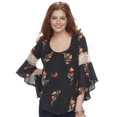 9c1a21bfd08c Juniors  WallFlower Printed Off-the-Shoulder Bell Sleeve Romper ...