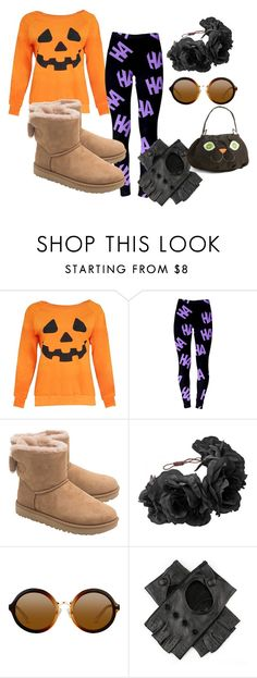 """""""Halloween"""" by dream-catcher-wolf-girl ❤ liked on Polyvore featuring UGG, Rock 'N Rose, Black and Levtex"""