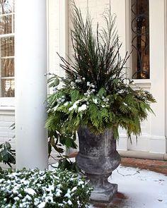 winter greenery pot