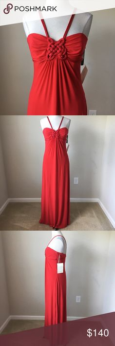 Matte jersey red maxi halter cord detail dress -Side zip -Boning in upper chest section of dress -Fully lined -Bust 35-36 inches, length 60 inches -95% Polyester, 5% Spandex Laundry By Shelli Segal Dresses Maxi