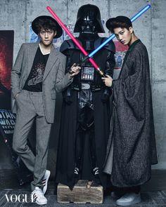 Promoting Star Wars: The Force Awakens in South Korea, Walt Disney looks to pop band Exo and its members, Suho, Chen, Kai and Sehun. Exo Kai, Chanyeol Baekhyun, Vogue Korea, Exo Ot12, Chanbaek, Kaisoo, 2ne1, Btob, K Pop
