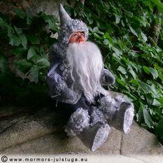 Mysig vätte i skogen. Cozy gnome in the forest. Swedish handicraft.