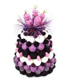 gâteau bonbons mauve et noir
