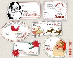 Printable Christmas Tags, FROM SANTA! This is sure to help all of Santa helpers out with gifts from Santa!