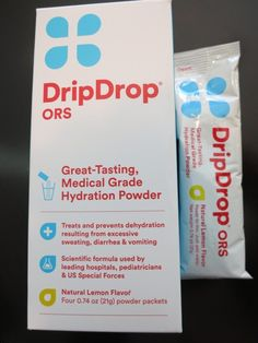 DripDrop Hydration Powder - These packets of powered electrolytes solve the problem of dehydration on long flights, long hikes or as a result of illness.