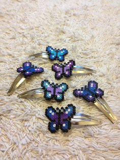 Butterfly Hair Clips hama mini beads by PixelPlastik on deviantart