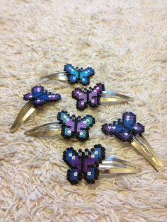 Butterfly Hair Clips hama mini beads by PixelPlastik on deviantart
