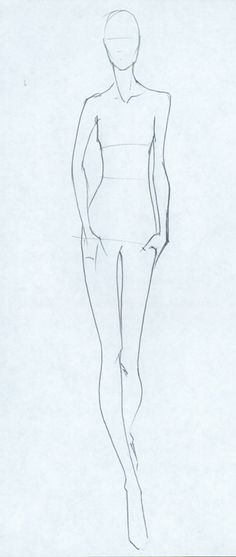 4.1.2007: This is a finished Croquis/Template for a Fashion Sketch. In a presentation of a few pieces or even a whole collection, a set of the same few basic bodies can help to unify the illustrati...