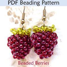 Beaded Berries DIY Earrings Jewelry Making Beading Pattern – Seed Bead Tutorials Beaded Jewelry Patterns, Beading Patterns, Bracelet Patterns, Seed Bead Patterns, Jewelry Making Tutorials, Beading Tutorials, Bead Crafts, Jewelry Crafts, Seed Bead Jewelry