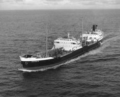SS Eastgate undergoing sea trials in November '57. Built by Joseph L.Thompson & Sons of Sunderland. She had originally been ordered by Anglo-Saxon, as one of their class of H Boats to be the SS Hiatula, but was completed as SS Eastgate for Turnbull Scott Shipping Co and was in time-charter to Anglo-Saxon(later to become Shell Tankers). On 30.03.73 was damaged by fire after collision with French SS Circea in Hong Kong. Was then sold to Great FarEastern for scrapping.