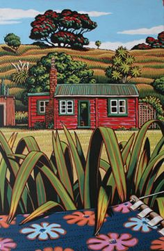 Tony Ogle - Hammock & Bach New Zealand art. A bach (pronounced batch) is a little summer home for getting away from it all. Nz Art, Art For Art Sake, Painting Inspiration, Art Inspo, New Zealand Landscape, New Zealand Art, Art Folder, Kiwiana, Naive Art