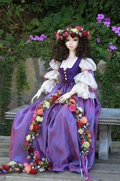 """""""Ophelia"""" costume - This ensemble includes  the dress, vest,  slip, pantaloons, flower wreath and garland."""