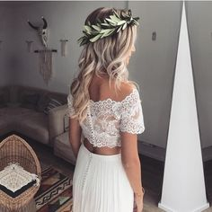 Item:Two Piece Wedding Gowns Occasion:Country Wedding,Beach Wedding,Bohemian Wedding Process Time:10 to 15 days Shipment:Send via dhl,fedex,aramex
