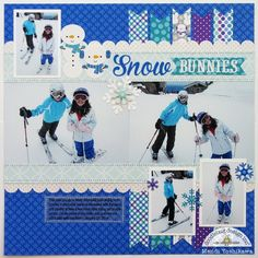 A Doodlebug Frosty Friends Skiing Snow Bunnies Layout by Mendi Yoshikawa