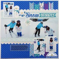 A Doodlebug Frosty Friends Skiing Snow Bunnies Layout by Mendi Yoshikawa