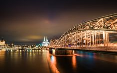 Download wallpapers Cologne Cathedral, Hohenzollern Bridge, Cologne, night, city lights, Germany