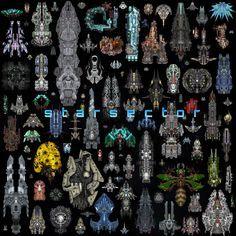 starsector tileset lots of topdown pixelart spaceships Cartoon Spaceship, Alien Spaceship, Spaceship Design, Spaceship Concept, Retro Kunst, Retro Art, Space Ship Concept Art, Art Deco Artwork, Pixel Art Background