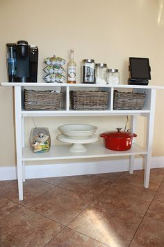 Coffee Bar  - I have this IKEA occasional table at home that I use for decoration...this blew my mind!
