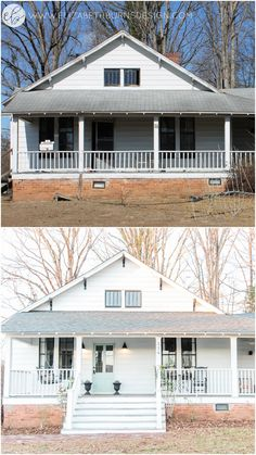 Burns Design Farmhouse Fixer Upper Before and After DIY Renovation on a Budget Farmhouse Renovation, Farmhouse Remodel, Farmhouse Design, Kitchen Remodel, Old Home Renovation, Farmhouse Ideas, Bath Remodel, Porches, Architecture Renovation