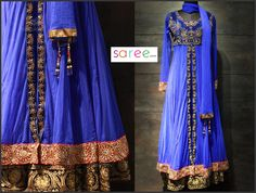 Dark Blue Net Suit with Sequins Work