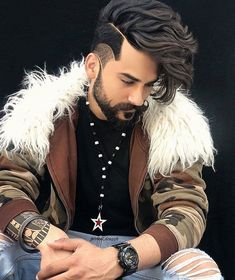 Mens Hairstyles With Beard, Boys Long Hairstyles, Haircuts For Men, Beard Styles For Men, Hair And Beard Styles, Long Hair Styles, Stylish Little Boys, Wedding Dresses Men Indian, Gents Hair Style