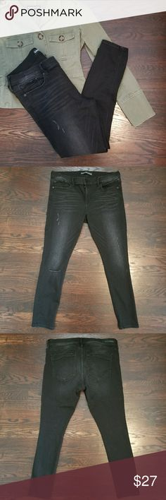 EXPRESS Super Soft Black Distressed Leggings Extremely soft and comfortable thick leggings/jeggings. Distressed style. In EXCELLENT condition. Worn once. Size 12 Short. Measure 37 inches long. Express Pants