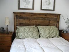 Re-claimed Queen-sized headboard.  Love this rustic look for a guest bedroom!  (This woman's site is great for DIY ideas & estimated costs!)