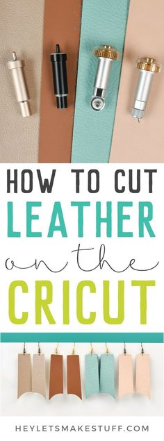 Take the guesswork out of cutting leather on your Cricut! I'm showing the best way to cut four types of leather from using you Cricut Explore and Maker. Know which machine, blade, mat, and material settings to use so your leather project turns out r Cricut Air 2, Cricut Mat, Cricut Craft Room, Cricut Vinyl, Cricut Help, Cricut Blades, Diy Leather Earrings, Leather Jewelry, Leather Accessories