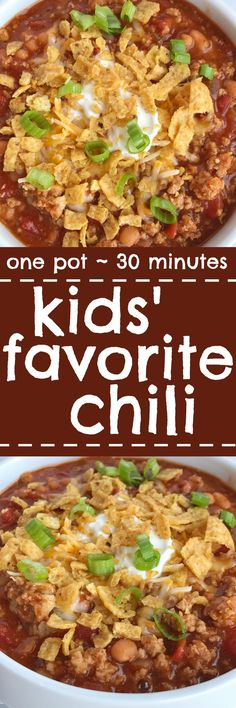 Even adults will love this mildly seasoned and sweet kids' favorite chili recipe. All you need is one pot, 30 minutes, and only a few simple ingredients. This is so good topped with shredded cheese, sour cream, and some crushed Fritos corn chips. It's kid Chili Recipes, Slow Cooker Recipes, Crockpot Recipes, Soup Recipes, Dinner Recipes, Cooking Recipes, Dinner Ideas, Kid Recipes, Family Recipes