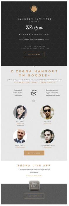 Zegna newsletter. Graphic Design. E-Commerce Layout.