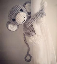 Gray monkey curtain tie back nursery crochet by niceandcosee