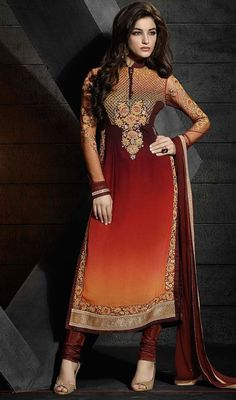 Get a captivating look wearing this brown and maroon color embroidered georgette churidar suit. The ethnic lace, resham and stones work over a apparel adds a sign of magnificence statement with your look. #churidardresses #straightcutsalwarkameez #reshamembroideredsuits