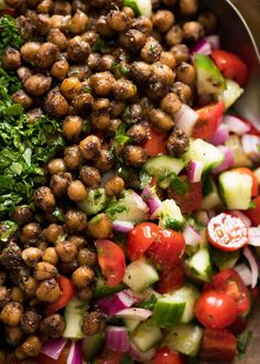 This may very well be the best chickpea salad you ever have in your life. Yotam Ottolenghi - I salute you. Worthy of a meal in itself - and good for you!