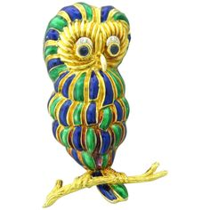 Enamel Sapphire Diamond Gold Owl Brooch | From a unique collection of vintage brooches at http://www.1stdibs.com/jewelry/brooches/brooches/