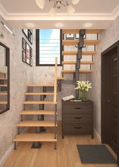 Stairs for the house of Yoshkar-Ola. Spiral Stairs Design, Stair Railing Design, Home Stairs Design, Interior Stairs, Home Interior Design, House Design, Loft Stairs, House Stairs, Modern Stairs