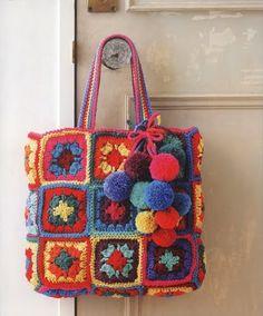 Bolso con cuadros de la abuela ~ Crochetadas