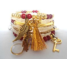 Gold red wrap bracelet, Memory wire bracelet, Bracelet with charms, Arm candy bracelets set, Tassel bracelet, Luxury bracelet for girlfriend
