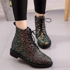 Designers Brand Women Ankle Boots Heels Female Shoes Woman Autumn Glitter Lace up Boots Casual Pink Black White #Affiliate