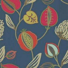 Tembok (110304) - Harlequin Wallpapers - An oversized and enticing floral trail. Showing in Flamboyant, vibrant shades of orange, pink and green on a dark blue background with metallic highlights. Other colour ways available. Please request a sample for true colour match. Paste-the-wall product.