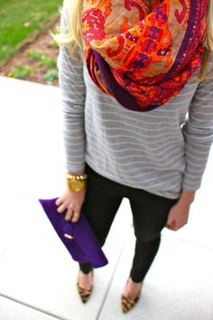 printed scarf / minimal stripes / clutch