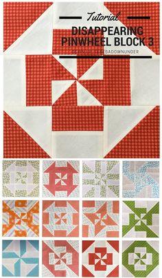 Block 3 - Disappearing pinwheel quilt sampler - free pattern
