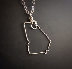 Custom State Love Necklace - Georgia State Necklace - Black Friday Sale - Personalized Necklace- Any State or Country- Silver or Gold