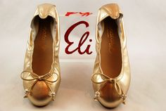 Cute Ballerinas from ELI in gold and nice bands. Summer 2015