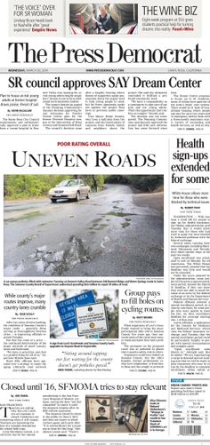 Press Democrat front page from Wednesday, March 26, 2014.
