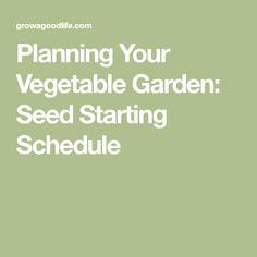 Planning Your Vegetable Garden: Seed Starting Schedule