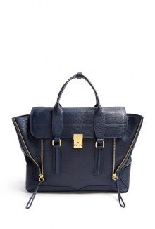 ink shark embossed leather pashli satchel by 3.1 Phillip Lim