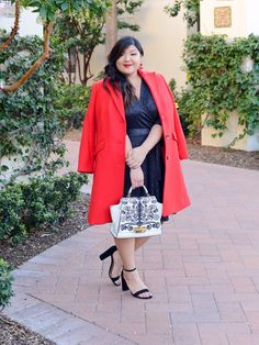 Sharing my go-to plus size holiday/Christmas party outfit with a bright red Talbots wool coat, sparkly wrap dress, and bow pumps and embellished bag. Evening Dresses Plus Size, Plus Size Maxi Dresses, Plus Size Outfits, Plus Size Fashion Blog, Plus Size Fashion For Women, Big Girl Fashion, Plus Size Beauty, Plus Size Wedding, Plus Size Jeans