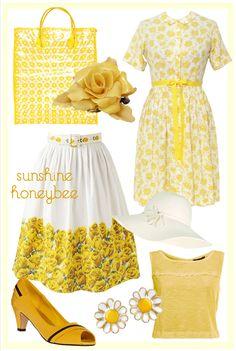 Yellow Sunshine Honeybee Floral Rose Daisy Vintage Retro Ring Enamel Dress Tote White Citrus Lemon Flower Skirt Etsy Shoe Heel Style Fashion Clothing Women