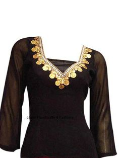 Buy fashionable and sexy Georgette Ethnic top in black color with ¾ sleeves. This simple yet sensuous top comes in free size and has a beautiful and intricate gotta-patti work on neckline which makes it a lovely party wear for Indian women.